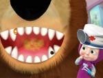 ילדה ודוב במרפאת שיניים