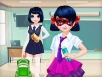 ילדה מנוקדת חוזרת לבית ספר